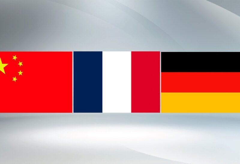 Drapeaux de l'Allemagne, de la France et de la Chine