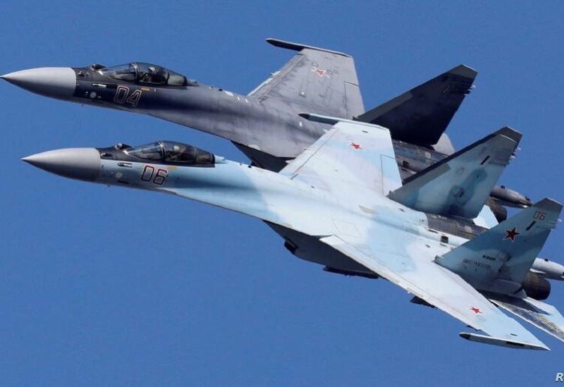 Des chasseurs à réaction Sukhoi Su35 de l'équipe de voltige Sokoly Rossi(Faucons de Russie) volent en formation lors d'une répétition pour le spectacle aérien à Krasnoïarsk en Russie le 1er août 2019 REUTERSIlya Naymushin
