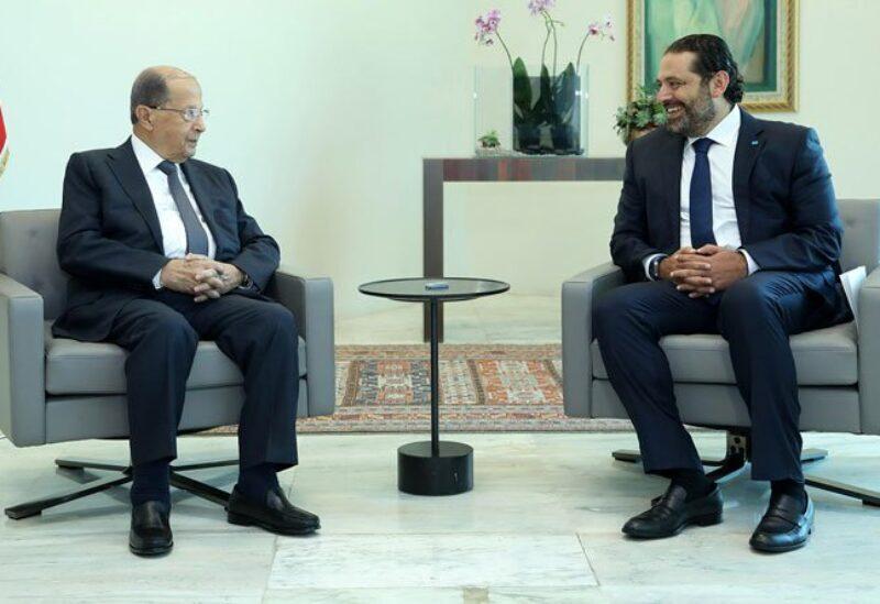 Le président de la République Michel Aoun et l'ancien Premier ministre Saad Hariri