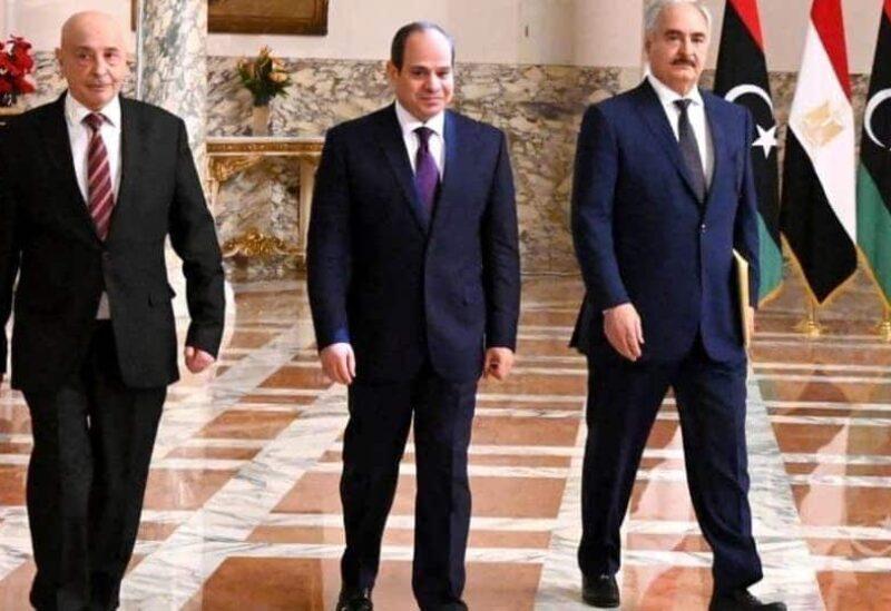 Haftar, Sissi et Aguila Saleh