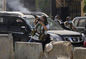 Des partisans de la milice du Hezbollah pendant les affrontements de Tayouneh