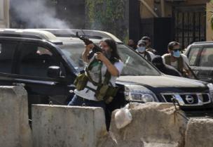 Les partisans de la milice du Hezbollah lors des affrontements à Tayouneh