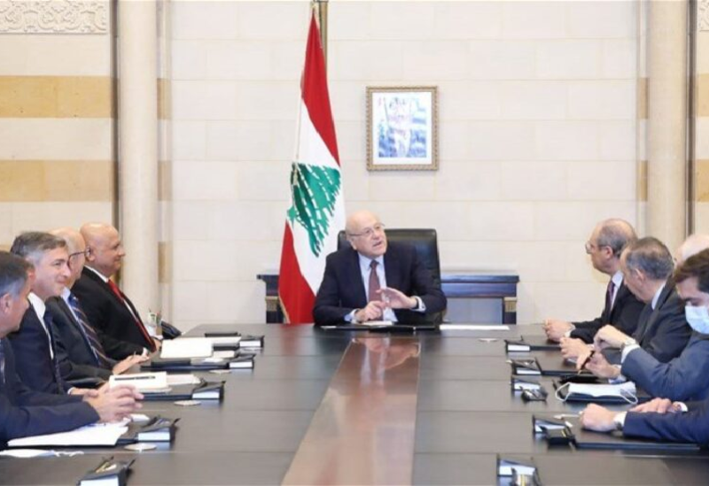 Najib Mikati en réunion avec une délégation de la Banque mondiale