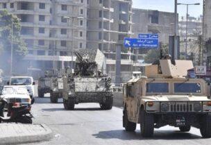 Véhicules militaires de l'armée à Tayouneh